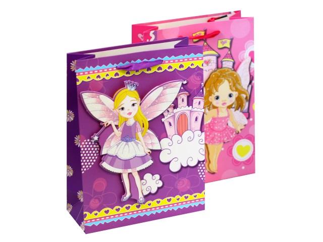 Пакет подарочный бумажный 8*24*8см Маленькая фея 3D 1178S