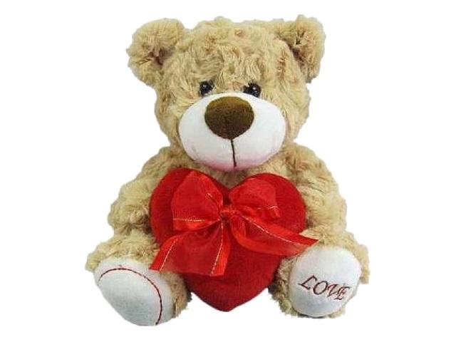 Мягкая игрушка Медведь коричневый 18м с сердцем Love ABToys М5067