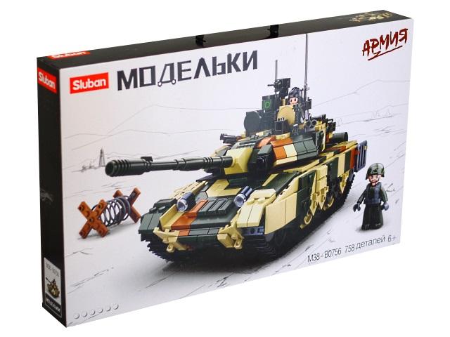 Конструктор 758 деталей Армия Боевой танк Sluban M38-B0756