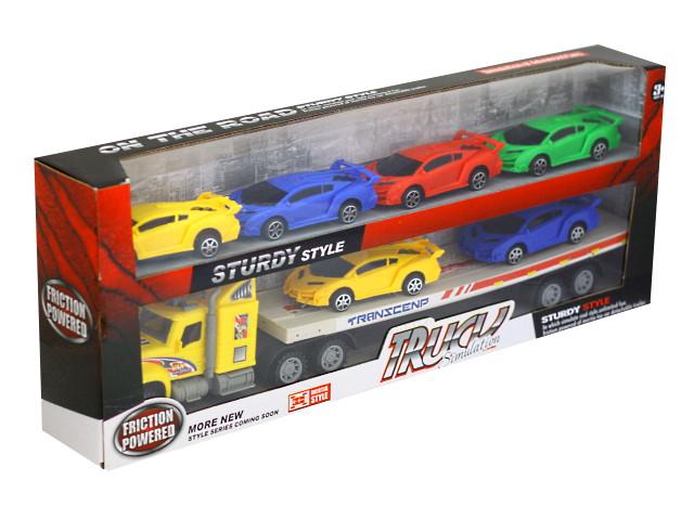 Машина инерционная Автовоз гоночных авто 57см 6 машинок Truck Simulation 1881764