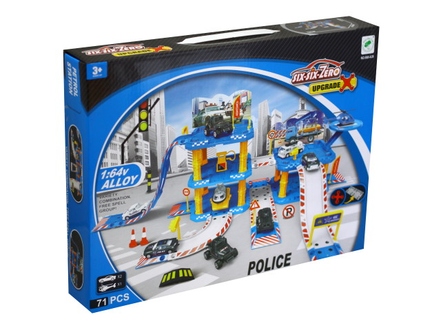 Парковка 3-х уровневая Полиция 2 машинки и вертолёт Y13061315
