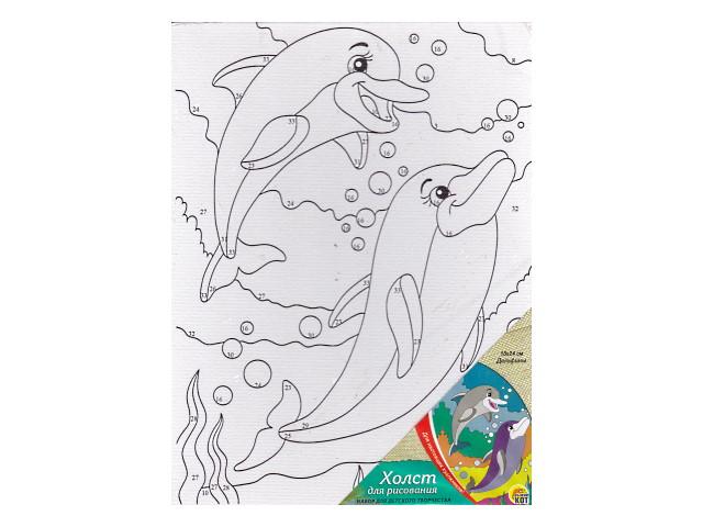 АКЦИЯ Холст 18*24см Дельфины Рыжий кот Х-9685
