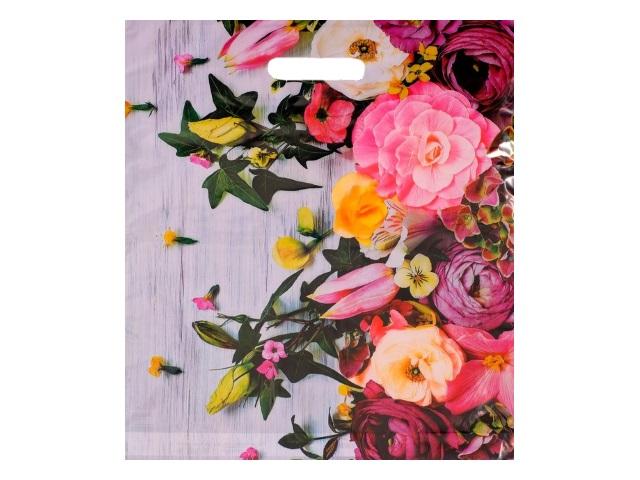 Пакет с прорезной ручкой 38*45см Нежные цветы Артпласт ВУР22281