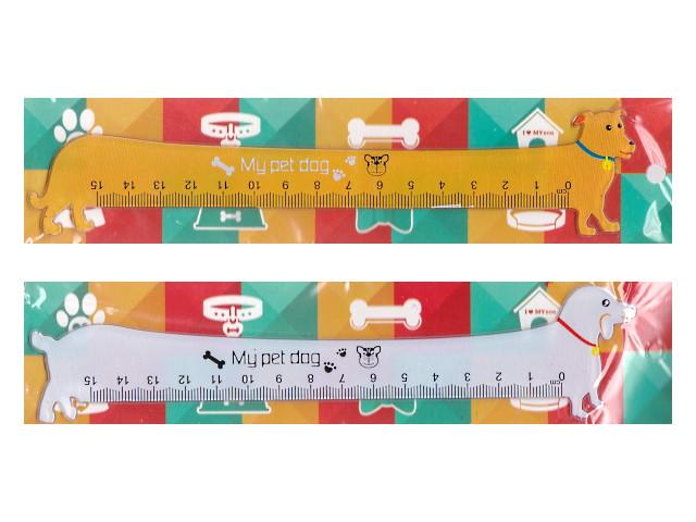 Линейка  15 см J.Otten Dog цветная 2498
