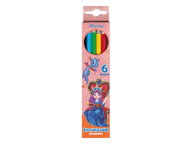 Карандаши цветные  6цв J.Otten Принцесса и дракон шестигранные 7303D-6