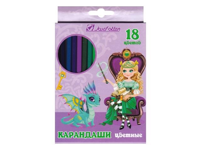 Карандаши цветные 18цв J.Otten Принцесса и дракон шестигранные 7303D-18