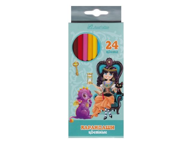 Карандаши цветные 24цв J.Otten Принцесса и дракон шестигранные 7303D-24