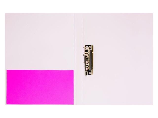 Папка с зажимом и карманом А4 Бюрократ Double Neon 0.7мм розовая DNE07Сpink