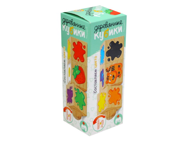 Кубики деревянные  3 шт. на оси Составляем цвета Десятое королевство 02966