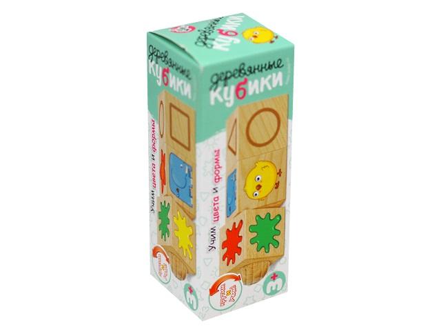 Кубики деревянные  3 шт. на оси Учим формы и цвета Десятое королевство 02968