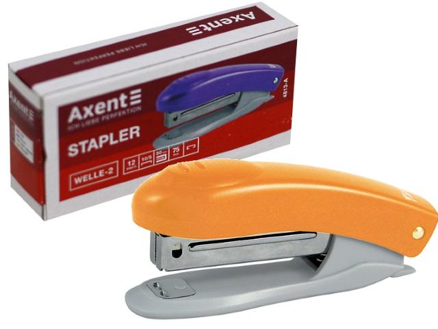 Степлер №10 12л мини Axent пластик Welle-2 оранжевый с антистеплером 4813-12-А