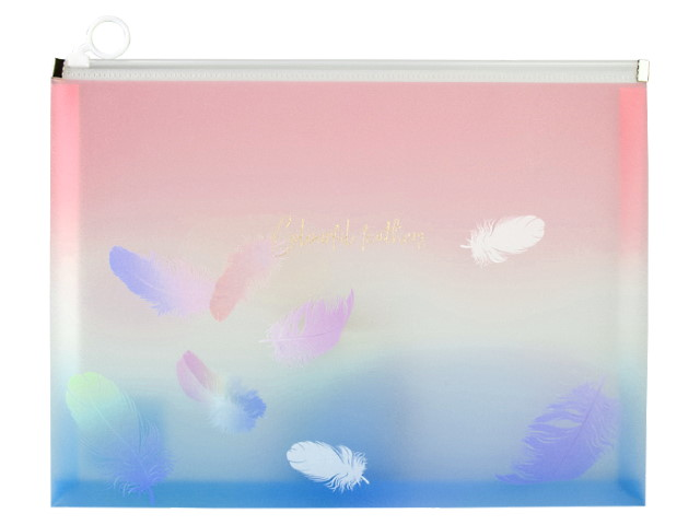 Папка на бегунке А4 Axent Colourful Feather розовая 1452-91-A