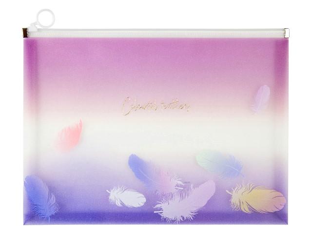 Папка на бегунке А4 Axent Colourful Feather фиолентовая 1452-93-A