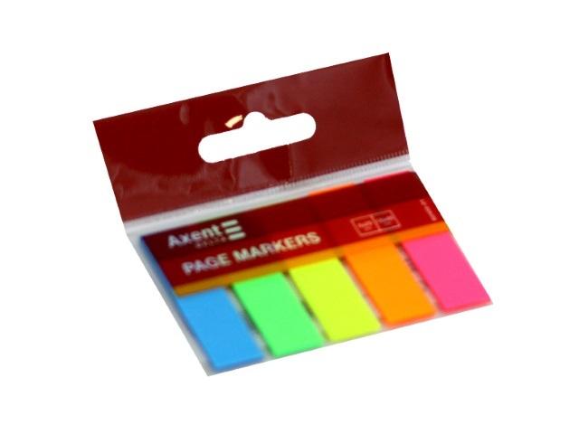 Стикер-закладка Axent Delta 45*12мм 5 цветов по 25л неон D2450-01
