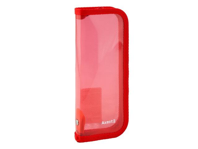 Пенал-косметичка Axent пластик прозрачный красный 1803-24-A