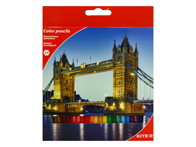 Карандаши цветные 24цв Kite Города шестигранные K17-055-2