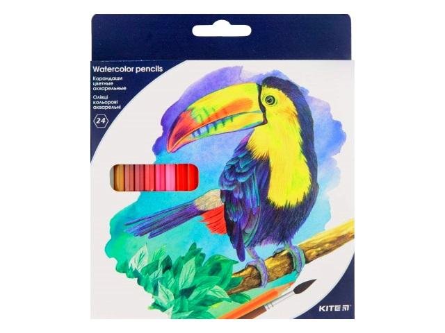 Карандаши цветные 24цв Kite акварельные шестигранные K18-1050