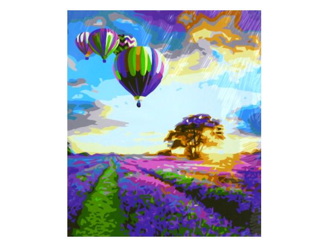 Картина по номерам 40*50см Воздушные шары над лавандовым полем Mazari М-10774