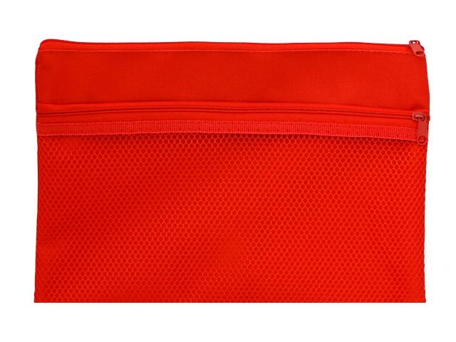 Папка для тетрадей А5 текстиль на молнии с карманом-сеткой Prof Press Красная ПС-9451
