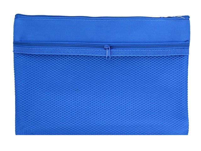 Папка для тетрадей А5 текстиль на молнии с карманом-сеткой Prof Press Синяя ПС-9452