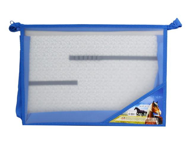 Папка для труда А4 пластик на молнии 2 отделения Prof Press Две лошади ПТР-2127