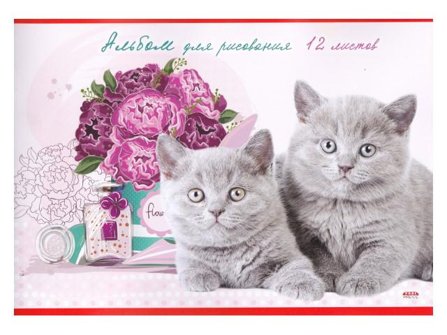 Альбом 12л А4 Prof Press на скобах Серые котята и пионы 12-4455