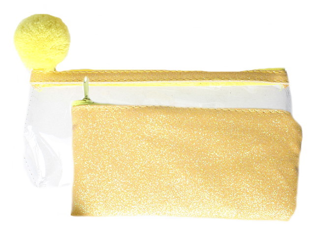 Пенал-косметичка Prof Press 2в1 Желтые блестки с помпоном ПН-6860
