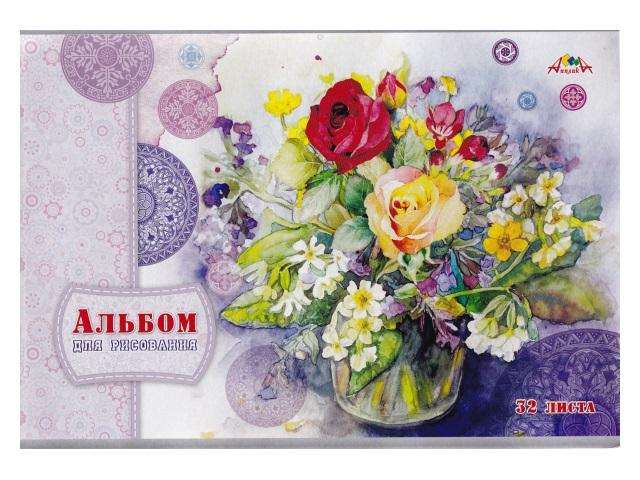 Альбом 32л А4 Апплика на скобах Букет с розами 100 г/м2 С0226-55