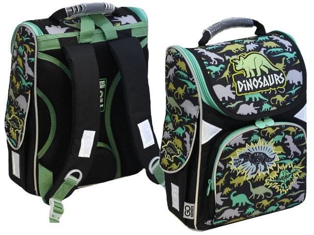 Ранец школьный Kite GoPack Education Dinosaurs 34*26*13см черно-зеленый GO20-5001S-12