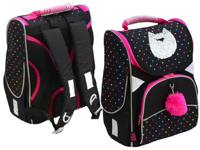 Ранец школьный Kite GoPack Education Shiny cat 34*26*13см черный GO20-5001S-6