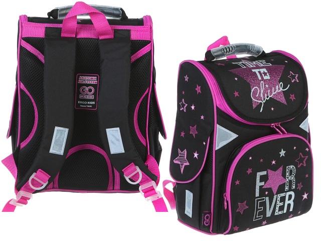 Ранец школьный Kite GoPack For Ever 34*26*13см черно-розовый GO19-5001S-3