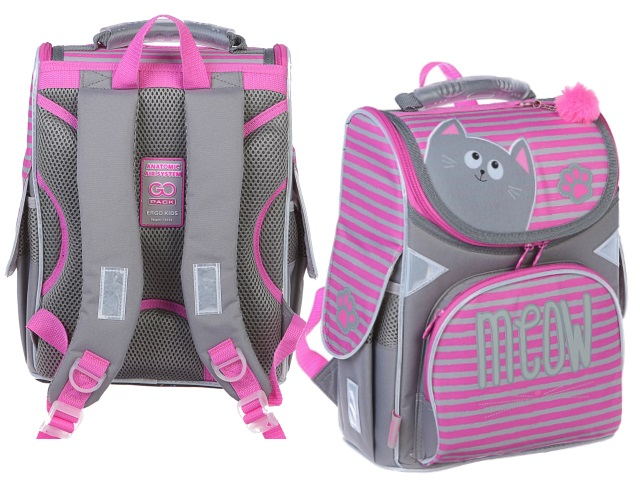 Ранец школьный Kite GoPack Meow 34*26*13см серо-розовый GO19-5001S-1