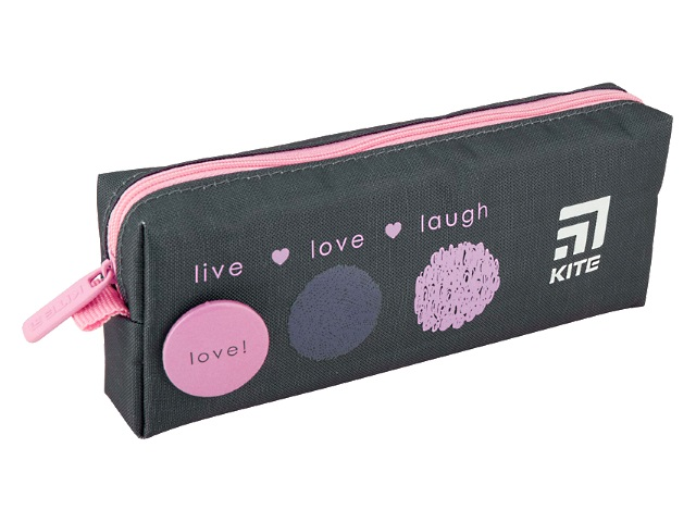 Пенал-косметичка Kite Live Love Laugh серо-розовый K20-642-1