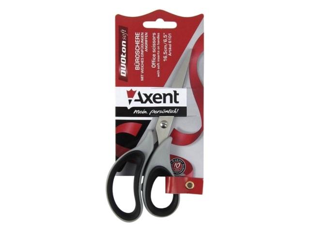 Ножницы 16.5 см Axent Duoton Soft прорезиненные ручки серо-черные 6101-01-A