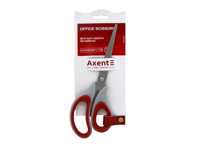Ножницы 21 см Axent Duoton Soft прорезиненные ручки серо-красные 6102-06-A