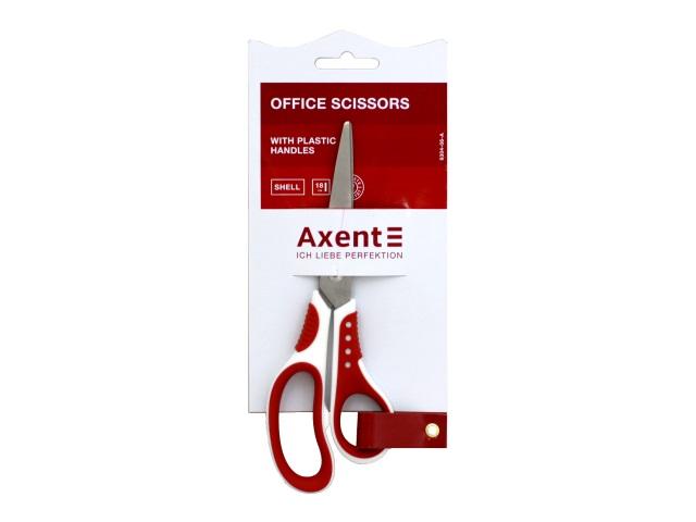 Ножницы 18 см Axent Shell прорезиненные ручки бело-красные 6304-06-A
