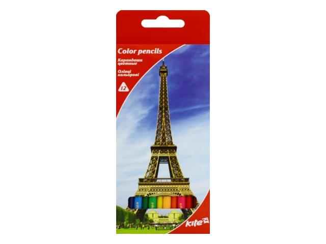 Карандаши цветные 12цв Kite Города трехгранные K17-053-2