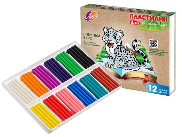 Пластилин 12 цветов Луч Zoo 180г 29С 1722-08