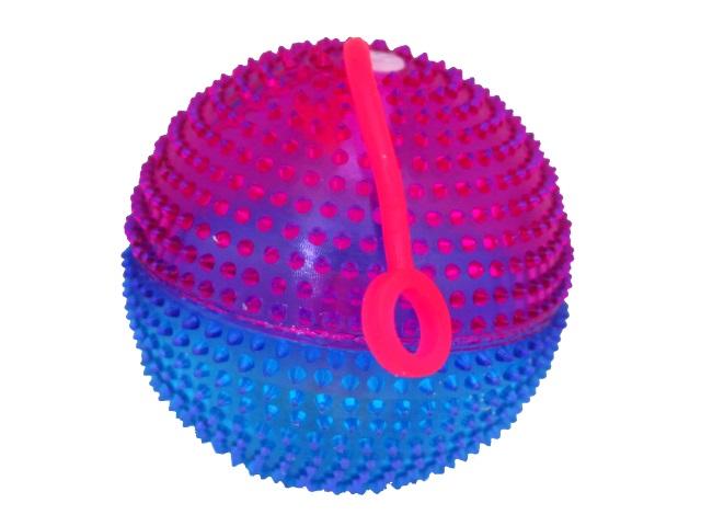 Мяч-пищалка с шипами 7.5см светящийся цветной M02481