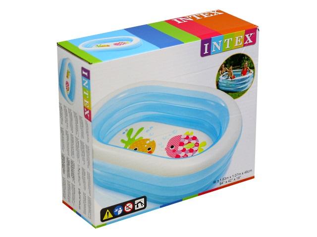 Бассейн Intex 163*107*46см Овальные рыбки 57482