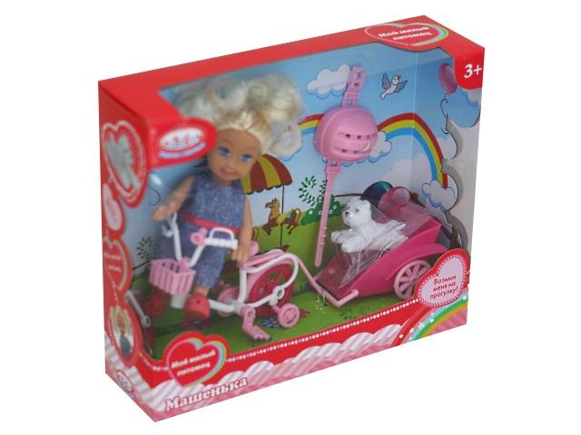 Кукла Машенька 12см с велосипедом и питомцем Карапуз MARY016X-RU