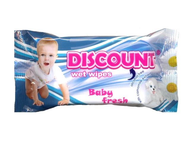Салфетки влажные  15 шт. Детские Ромашка Discount
