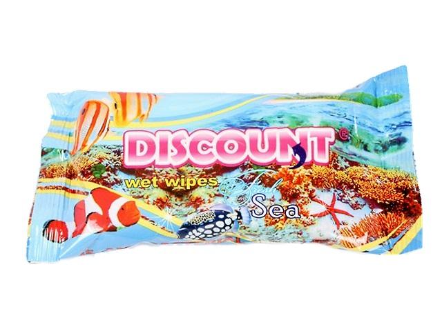 Салфетки влажные 15 шт. Морская свежесть Discount