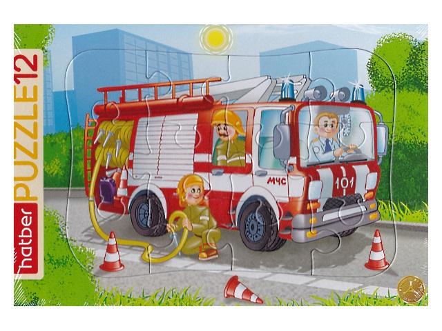 Пазлы в рамке Hatber 12 деталей Пожарная машина 12ПЗ4_09342