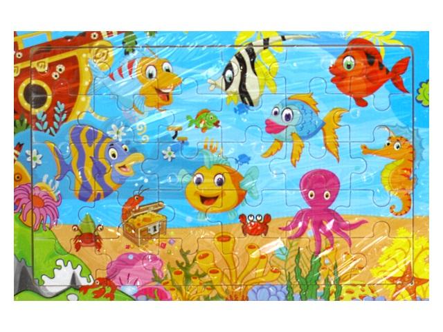 Пазлы в рамке дерево 30 деталей Кто в океане живет? Рыжий кот G88