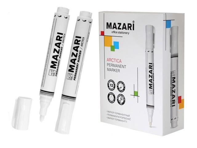 Маркер перманентный Mazari Arctic белый круглый 2мм М-5044-80