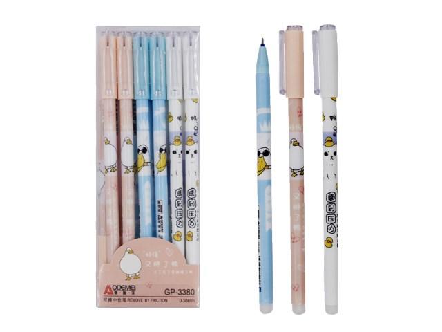 Ручка пиши-стирай Basir Утенок/Котенок гелевая синяя 0.38мм GP-3380