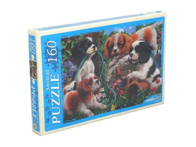 Пазлы  160 деталей Рыжий кот Резвые щенки в саду П160-0636\24