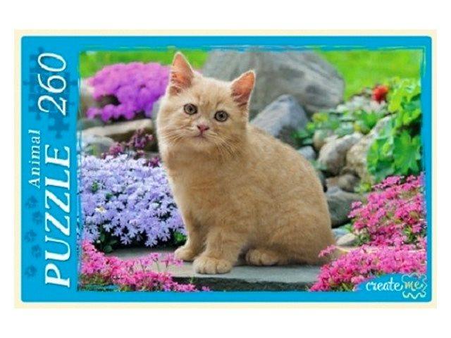 Пазлы  260 деталей Рыжий кот Рыжий котенок в цветах П260-0132