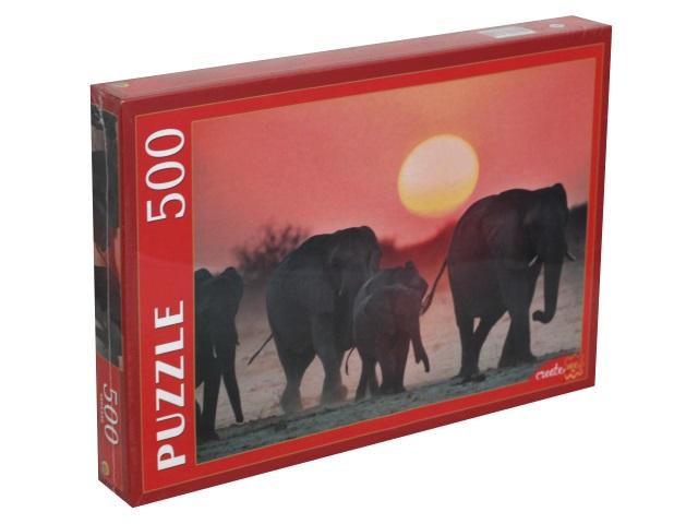 Пазлы  500 деталей Рыжий кот Семейство слонов КБ500-7934